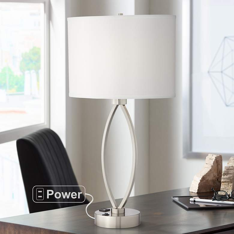 Eye-Shaped Brushed Nickel Metal Table Lamp with Outlet