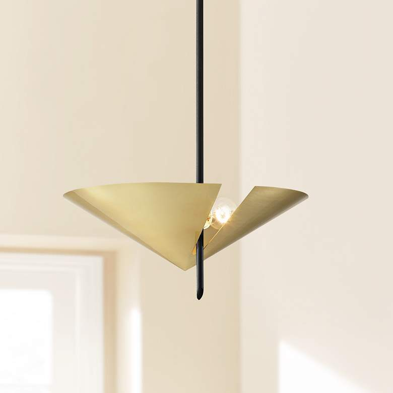 eEquilibrium 2-Light Black Pendant Light with Aged Brass