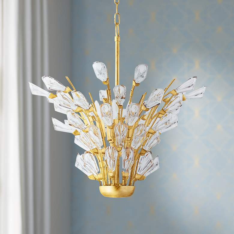 eTulip 5-Light Gold Leaf Chandelier with Clear Shade