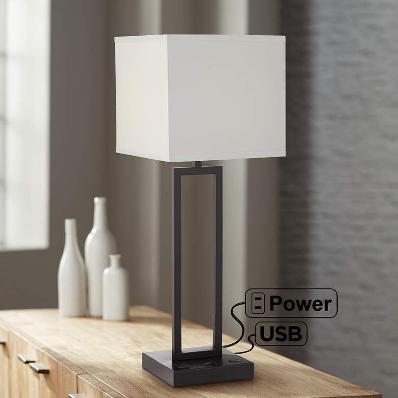 Acuous Dark Bronze Table Lamp with USB Port and Outlet