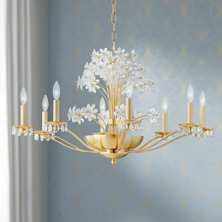 Beaumont 10-Light Aged Brass Chandelier with Clear Shade