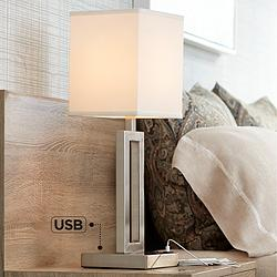 Acuous Brushed Nickel Table Lamp with USB Port