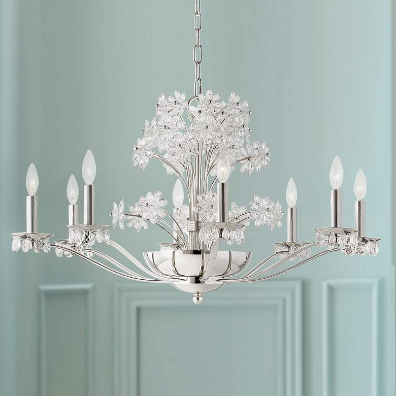 "eBeaumont 37 1/2""W Polished Nickel Chandelier with Clear"