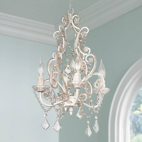"Leila 11"" Wide White Finish Beaded Plug-in Swag Chandelier"