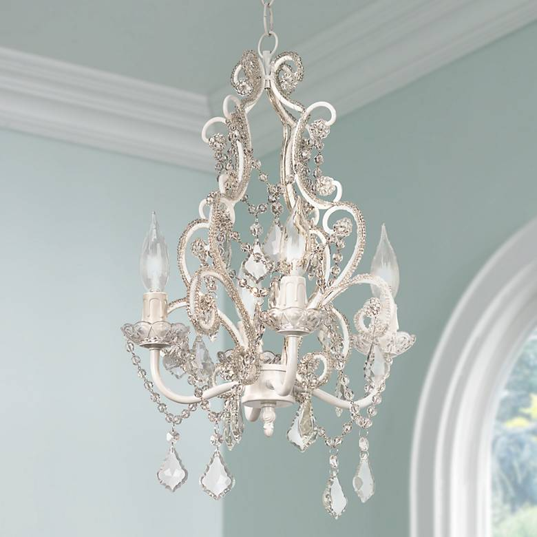 Leila 11 Quot Wide White Finish Beaded Plug In Swag Chandelier