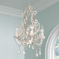 Leila 11 Wide White Finish Beaded Plug In Swag Chandelier