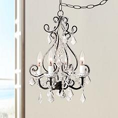 Black crystal chandeliers lamps plus leila black clear swag plug in chandelier aloadofball Image collections
