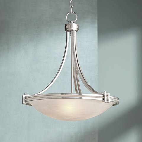 "Possini Euro Design Deco Nickel 21 1/2"" Wide Pendant Light"
