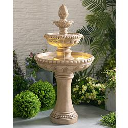 "Kenroy Home Tucson 46""H Sandstone 3-Tier LED Floor Fountain"