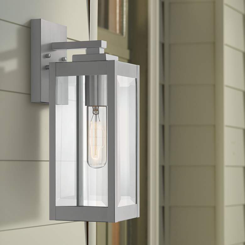 "Quoizel Westover 14 1/4"" High Silver Outdoor Wall Light"