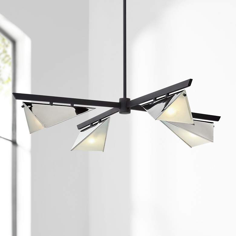 "Kite 40"" Wide Carbide Black and Nickel 4-Light Pendant Light"