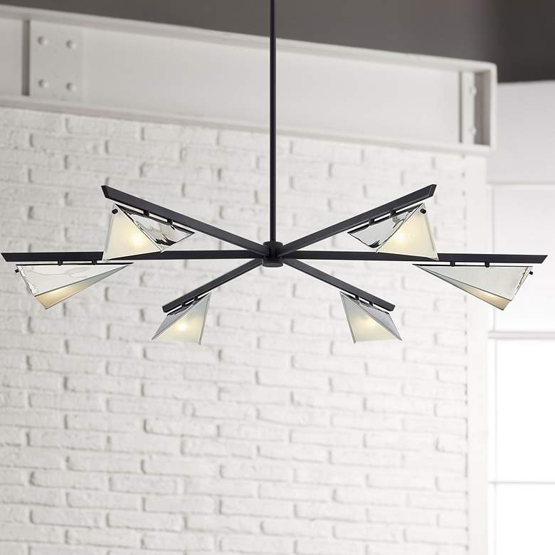"Kite 59"" Wide Carbide Black and Nickel 6-Light Pendant Light"