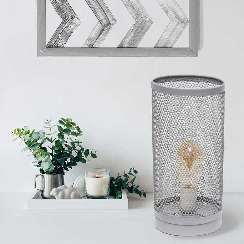 "Simple Designs 12 3/4""H Gray Mesh Cylinder Accent Table Lamp"