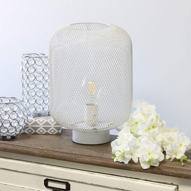 "Simple Designs 12 1/4""H White Metal Mesh Accent Table Lamp"