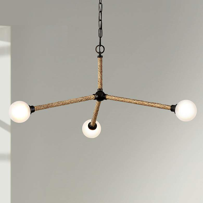 "Nomad 36 3/4""W Bronze and Natural 3-Light LED Pendant Light"