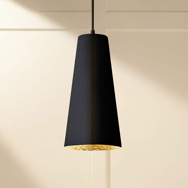 "Eglo Pratella 5"" Wide Structured Black Pendant Light"