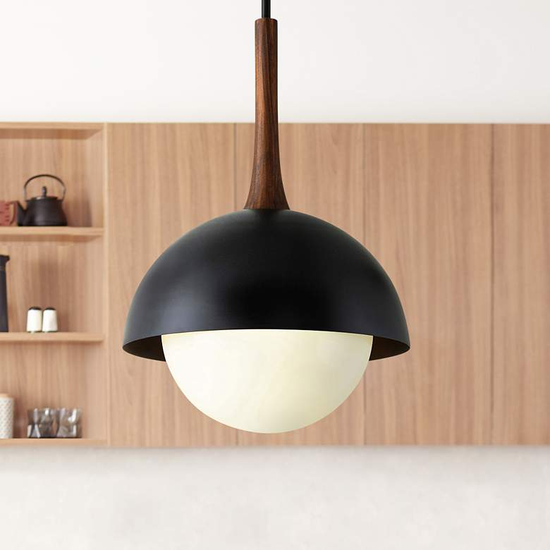 "Cadet 21"" Wide Black and Natural Acacia Wood Pendant Light"