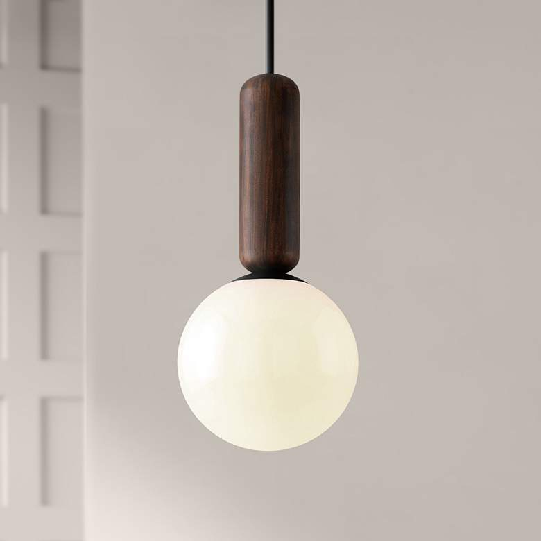 "Ensign 11 3/4""W Black and Natural Acacia Mini Pendant Light"