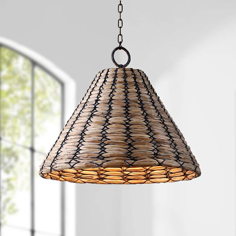 "Solana 30"" Wide Bronze White Washed Seagrass Pendant Light"