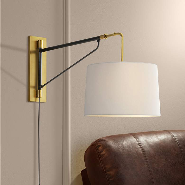 Arteriors Home Anthony Bronze Plug-In Swing Arm Wall Lamp