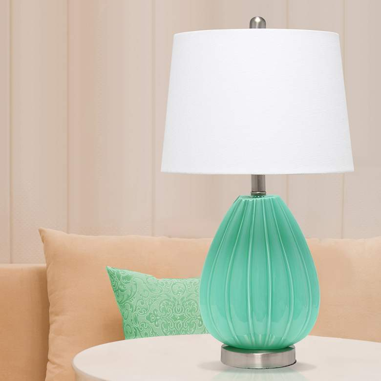 Lalia Home Seafoam Pleated Glass Accent Table Lamp