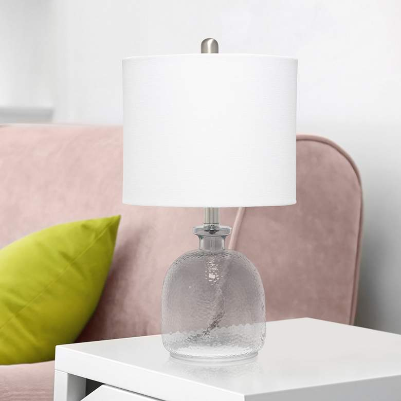 Lalia Home White and Smokey Gray Glass Jar Accent Table Lamp