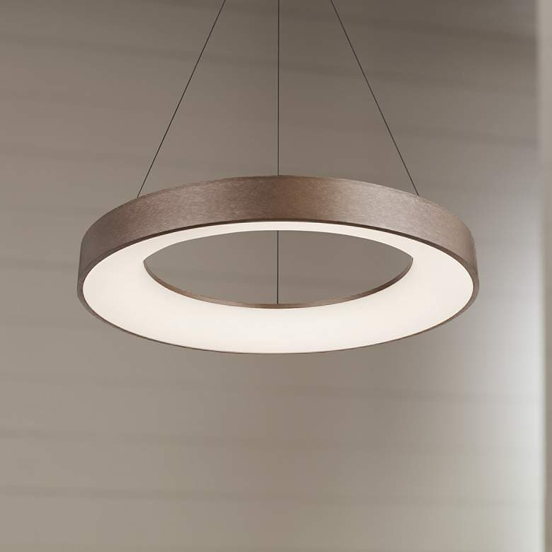 "Acryluxe™ Sway 19"" Wide Light Bronze LED Pendant"