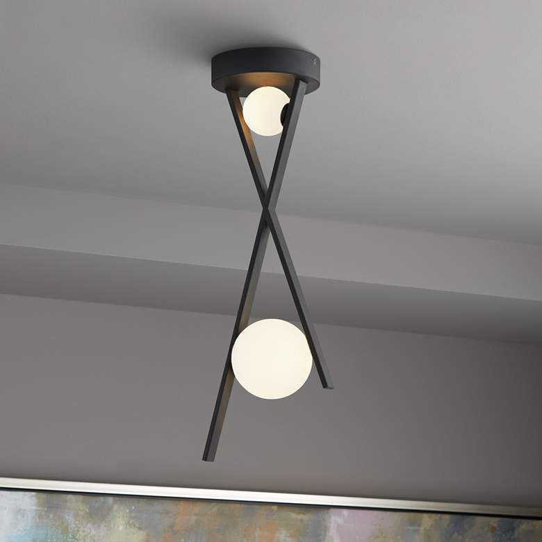 "Fusion™ Stix 12"" Wide Matte Black LED Mini Pendant"