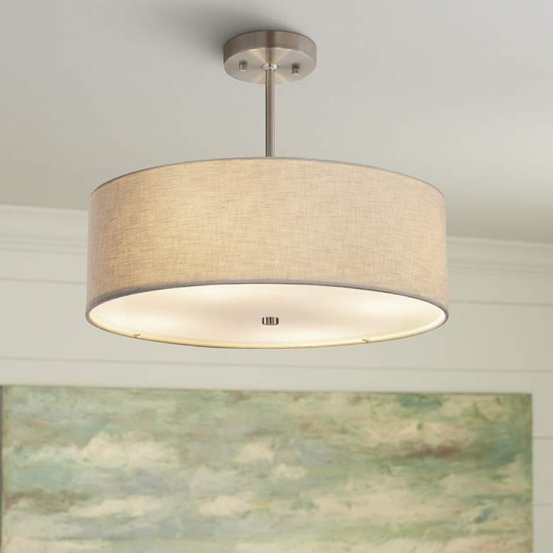 "Textile™ Classic 18""W Nickel Cream Drum Pendant Light"