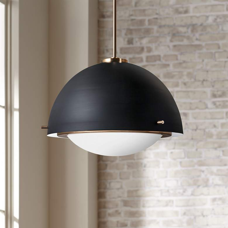 "Fusion™ Hemisphere 19"" Wide Matte Black Pendant Light"