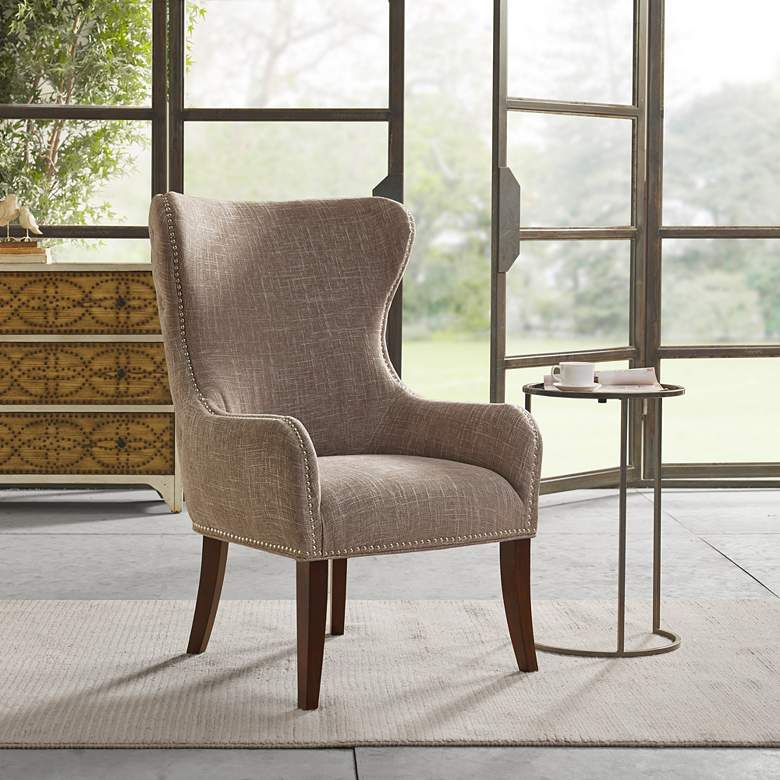 Irvine Camel Button-Tufted Wingback Accent Chair
