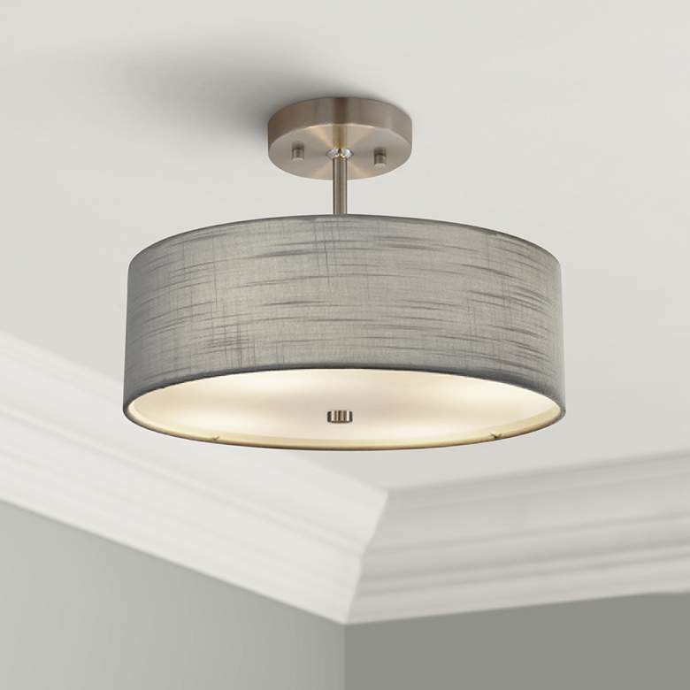 "Textile™ Classic 14""W Nickel Gray Drum Pendant Light"