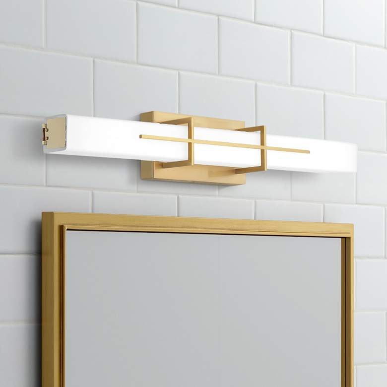 "Quoizel Gemini 28 1/4"" Wide Aged Brass LED Bath Light"