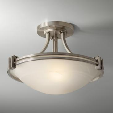 "Possini Euro Deco 16"" Wide Brushed Nickel Ceiling Light"