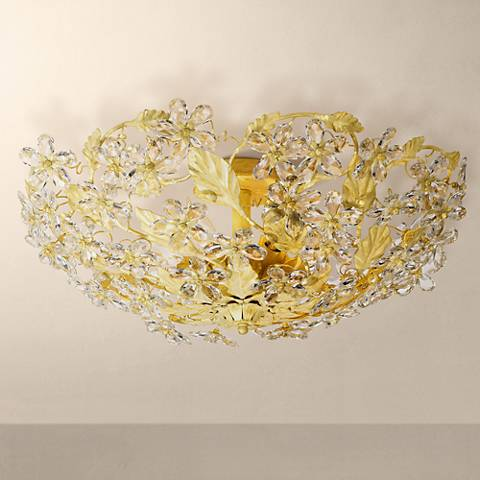 "Crystorama Crystal 25"" Wide Ceiling Light Fixture"