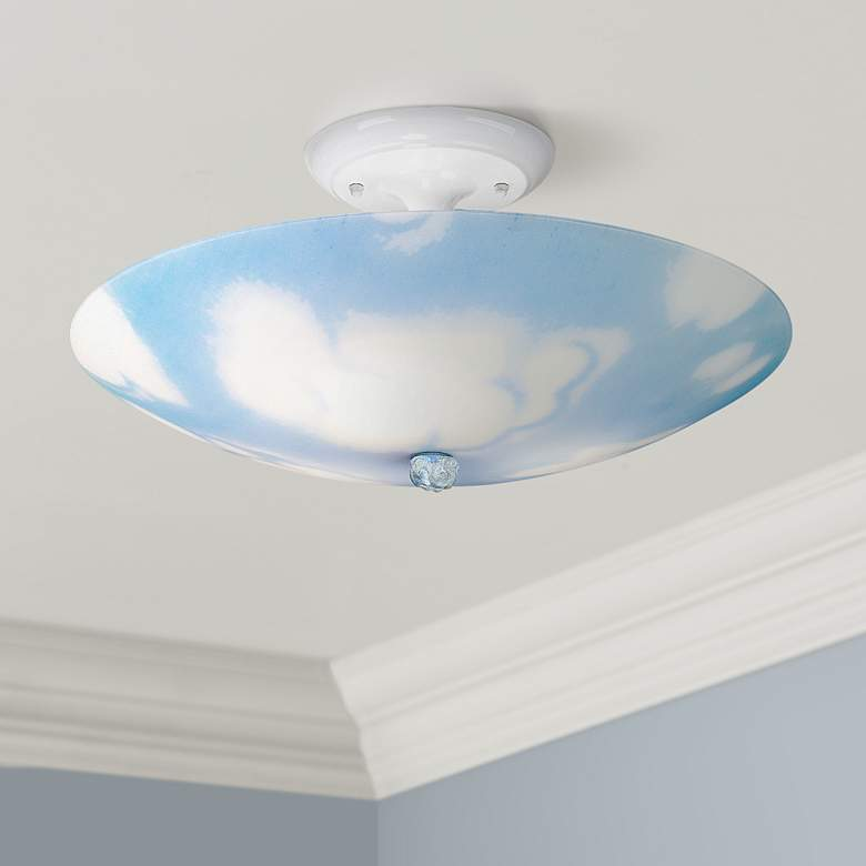 "Sky and Clouds 17"" Wide Ceiling Light Fixture"