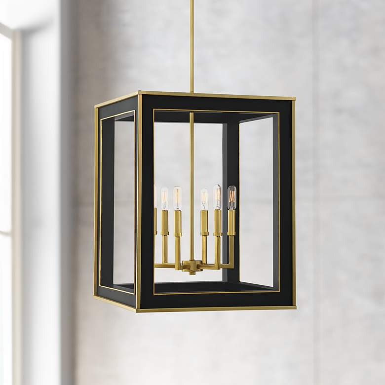 "Quoizel Burwell 18 1/4""W Matte Black 6-Light Foyer Pendant"