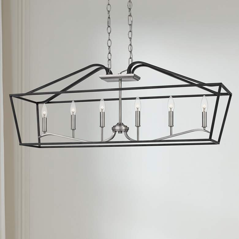 "Quoizel Catalina 42"" Wide Matte Black 6-Light Island Pendant"