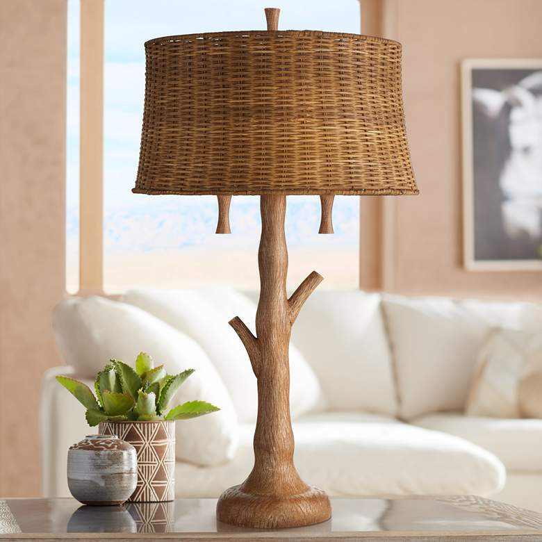 Dawson Rustic Tree Trunk Rattan Shade Table Lamp