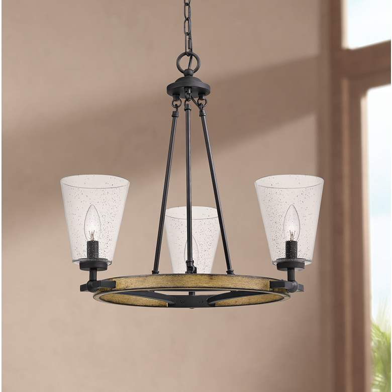 "Quoizel Hearst 22 1/4"" Wide Matte Black 3-Light Chandelier"