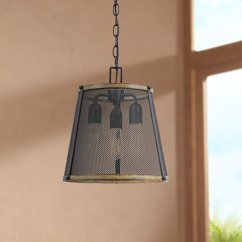 "Quoizel Lindstrom 13"" Wide Matte Black 3-Light Pendant Light"