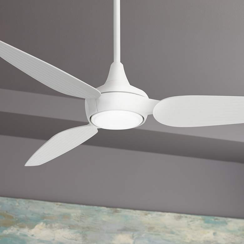 "60"" Minka Aire Seacrest White LED Outdoor Smart Ceiling Fan"