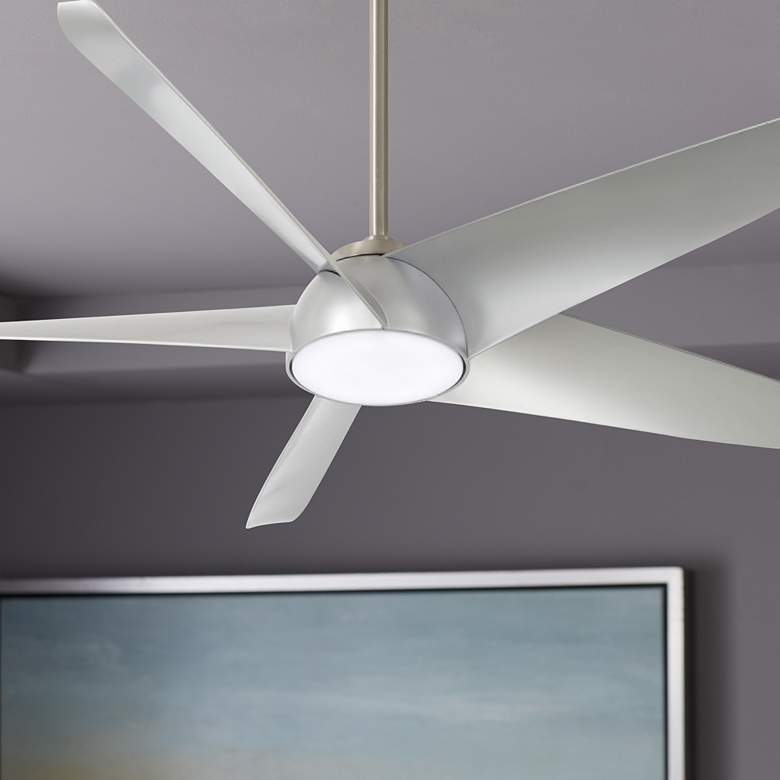 "60"" Minka Aire Ellipse Brushed Nickel and Silver LED Smart Ceiling Fan"