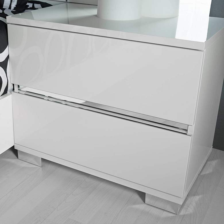 "Icon 27"" Wide Gloss White Wood 2-Drawer Nightstand"