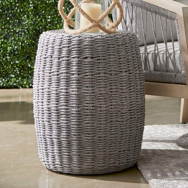"Loom 16 1/2"" Wide Platinum Rope Round Outdoor Accent Table"