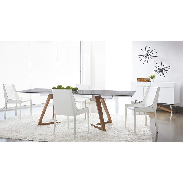 "Axel 103"" Wide Smoke Gray Glass Extendable Dining Table"