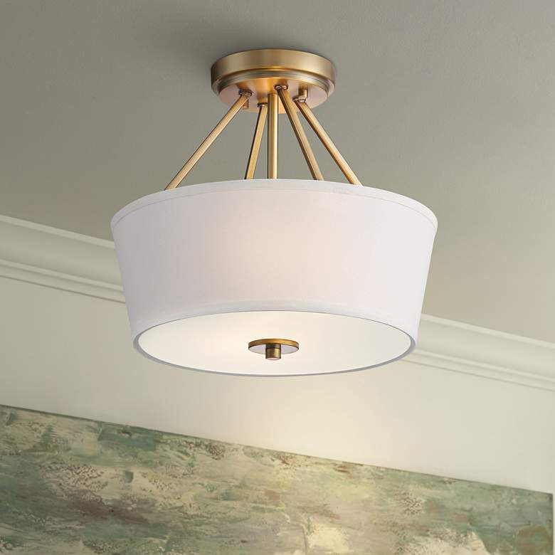 "Possini Euro Conner 13"" Wide Warm Brass Drum Ceiling Light"