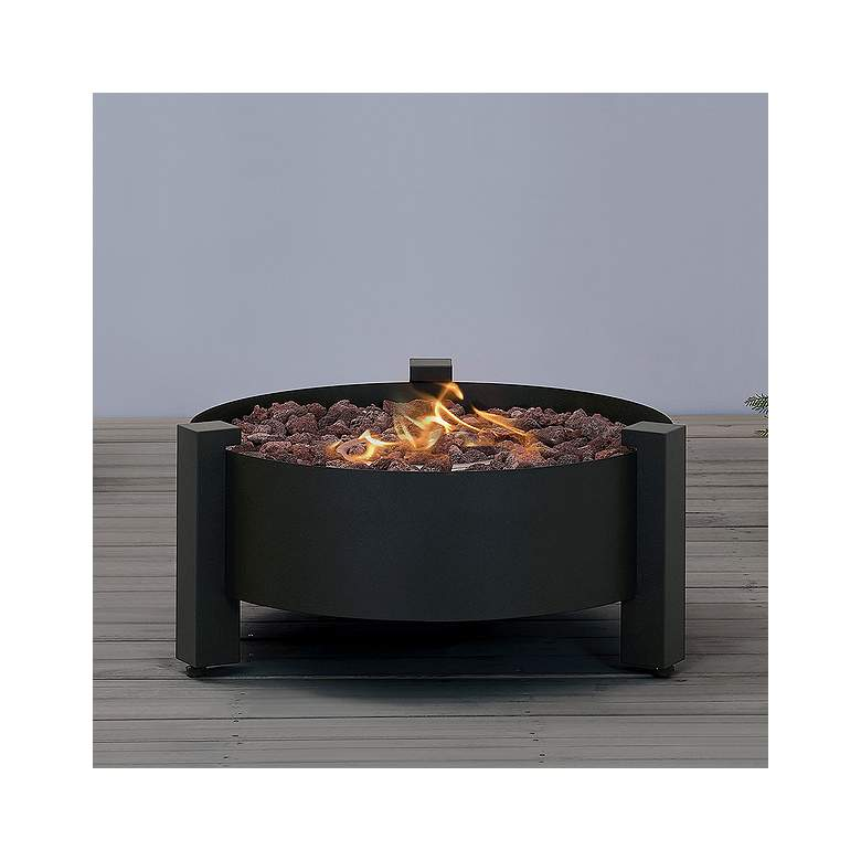 "Paisley 31 1/2""W Dark Charcoal Round Outdoor Gas Fire Pit"