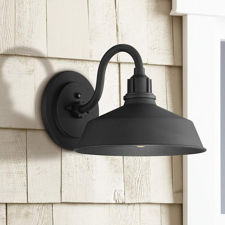 "Arnett 10 1/2"" High Black Dusk-to-Dawn Outdoor Wall Light"