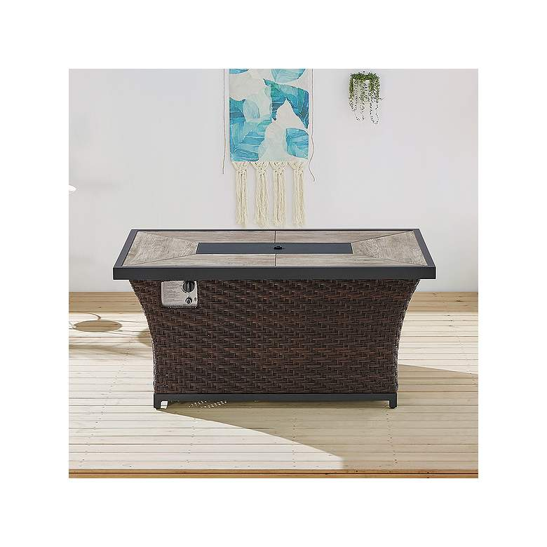 "Benton II 51 1/2"" Wide Brown Wicker Outdoor"